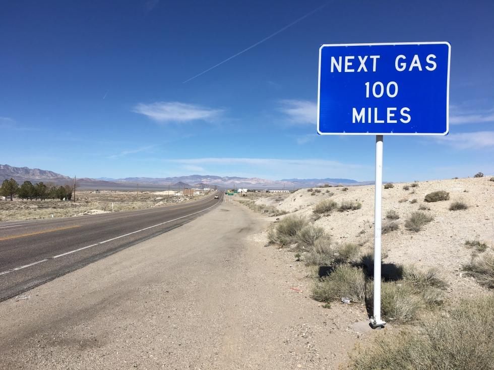 Next Gas 100 miles sign. Tonopah